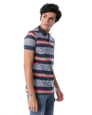 Striped Short Sleeves Polo Shirt - Navy Blue & Orange