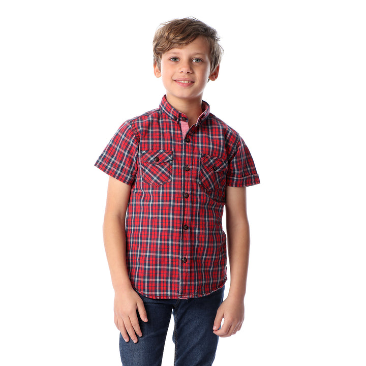 Boys Two Front Pockets Tartan Shirt - Red