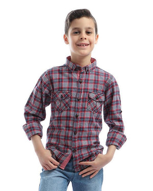 boys checks long sleeves with two pockets shirt   red