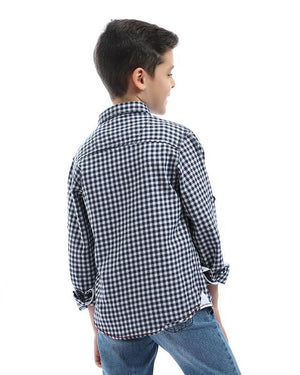 Boys Checks Long Sleeves With Pocket Shirt - Navy Blue & White