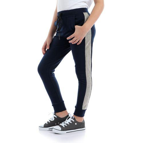 Girls Shiny Sides Comfy Sweatpants - Navy Blue