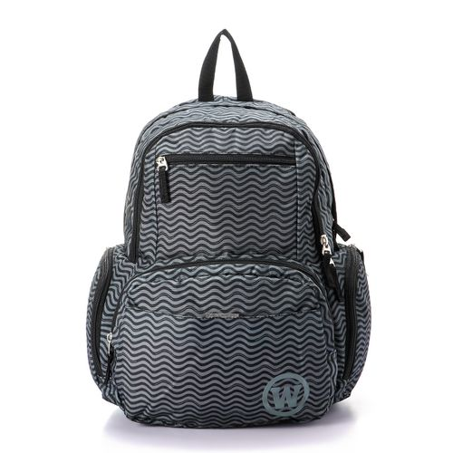 unisex waves zipped backpack - dark grey