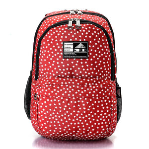 Stars Pattern Zipped Backpack - Red