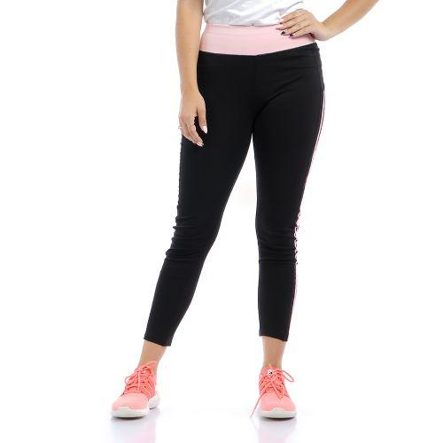 Sheer Sides Slip On Sportive Leggings - Black & Rose