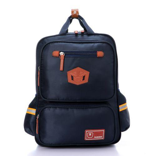 Casual Solid Zipped Backpack - Navy Blue