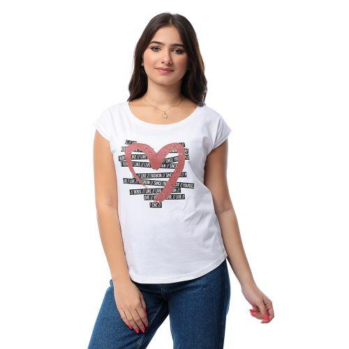 Printed Glittery Heart Slip On T-shirt - White