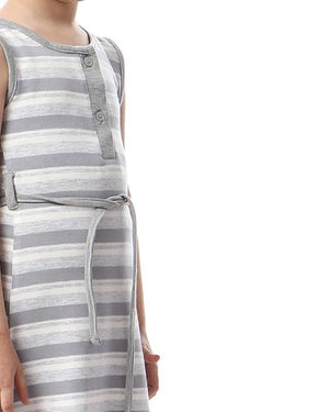 Striped Dress With Lace Up For Girls - Light Grey