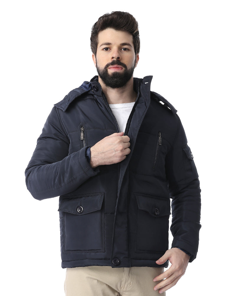 hooded puffer jacket with front pockets   navy blue