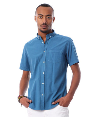 Solid Buttons Closure Short Sleeves Shirt - Steel Blue