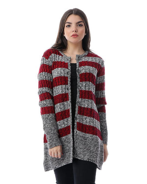 Striped Round Neck Buttoned Cardigan - Red & Heather Grey