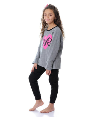 Girls Winter Long Sleeves Slip On Pajama Set - Grey & Black