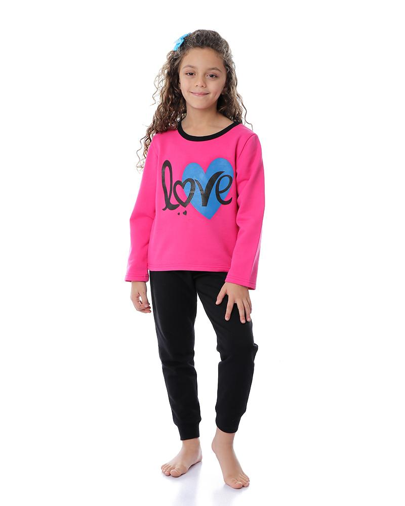 Girls Printed Round Neck Long Sleeves Pajama Set - Fuchsia & Black