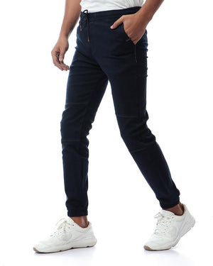 Solid Trendy Cargo Pants - Navy Blue