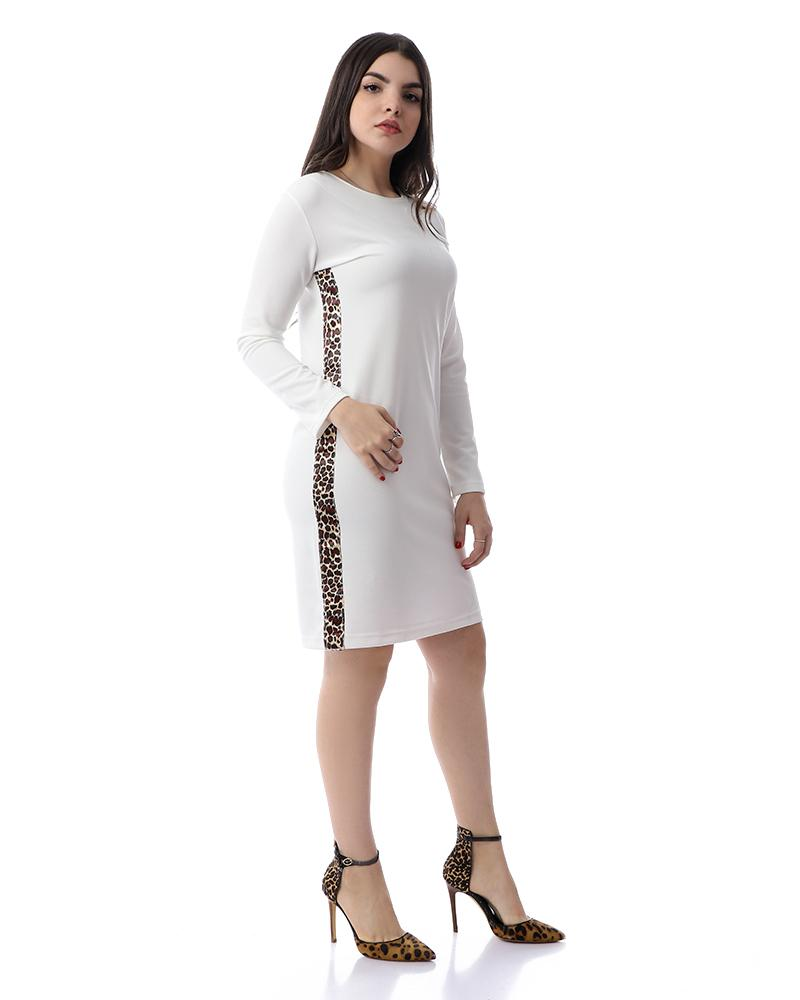 Long Sleeves Midi Dress With Tiger Sides - White