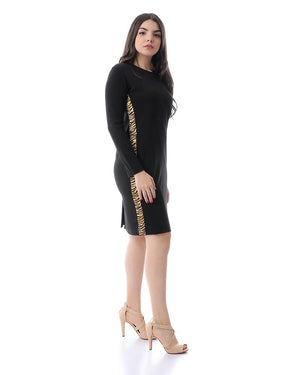 Long Sleeves Midi Dress With Tiger Sides - Black