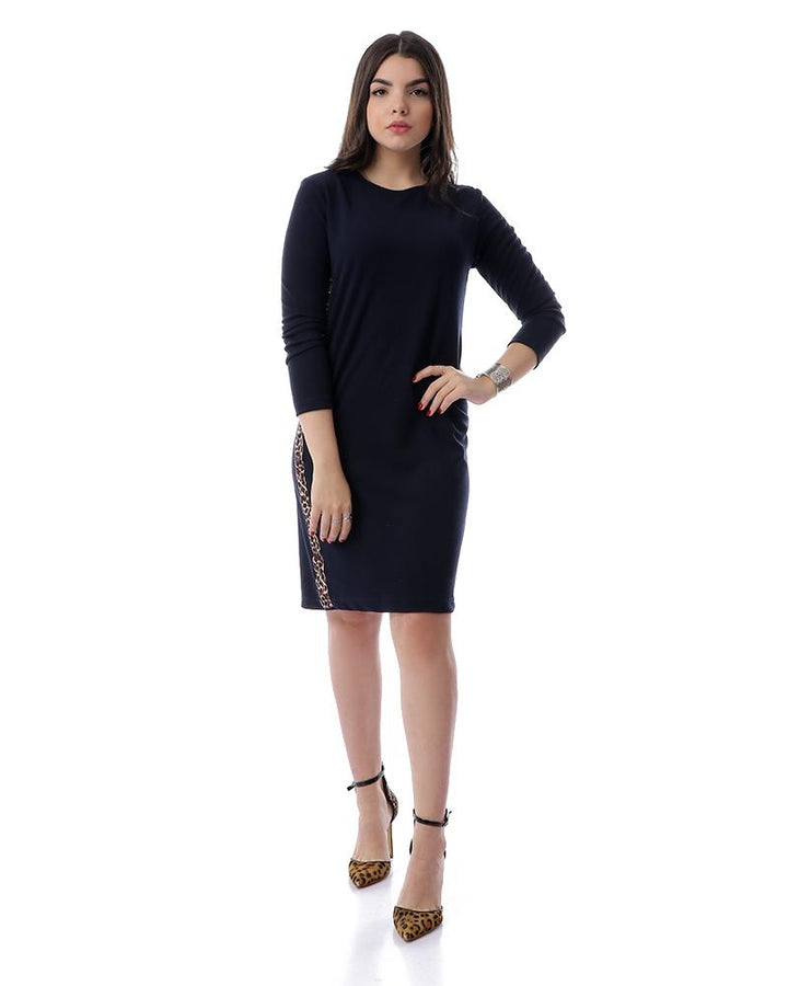 Long Sleeves Midi Dress With Leopard Sides - Navy Blue