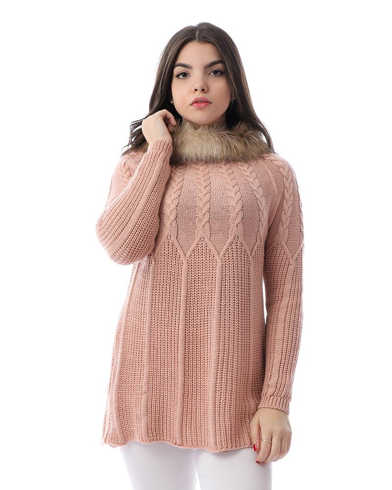 Knitted Long Sleeves Pullover With Fur Neck - Peach Rose