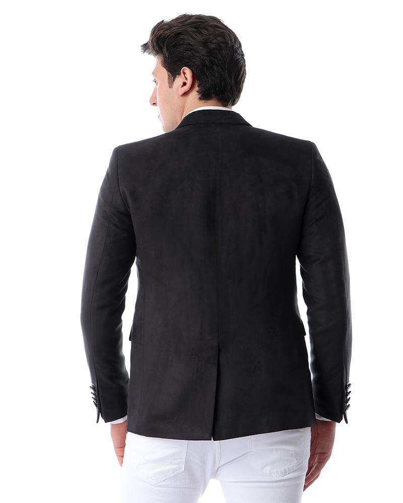 Suede Slim Fit Formal Blazer - Black