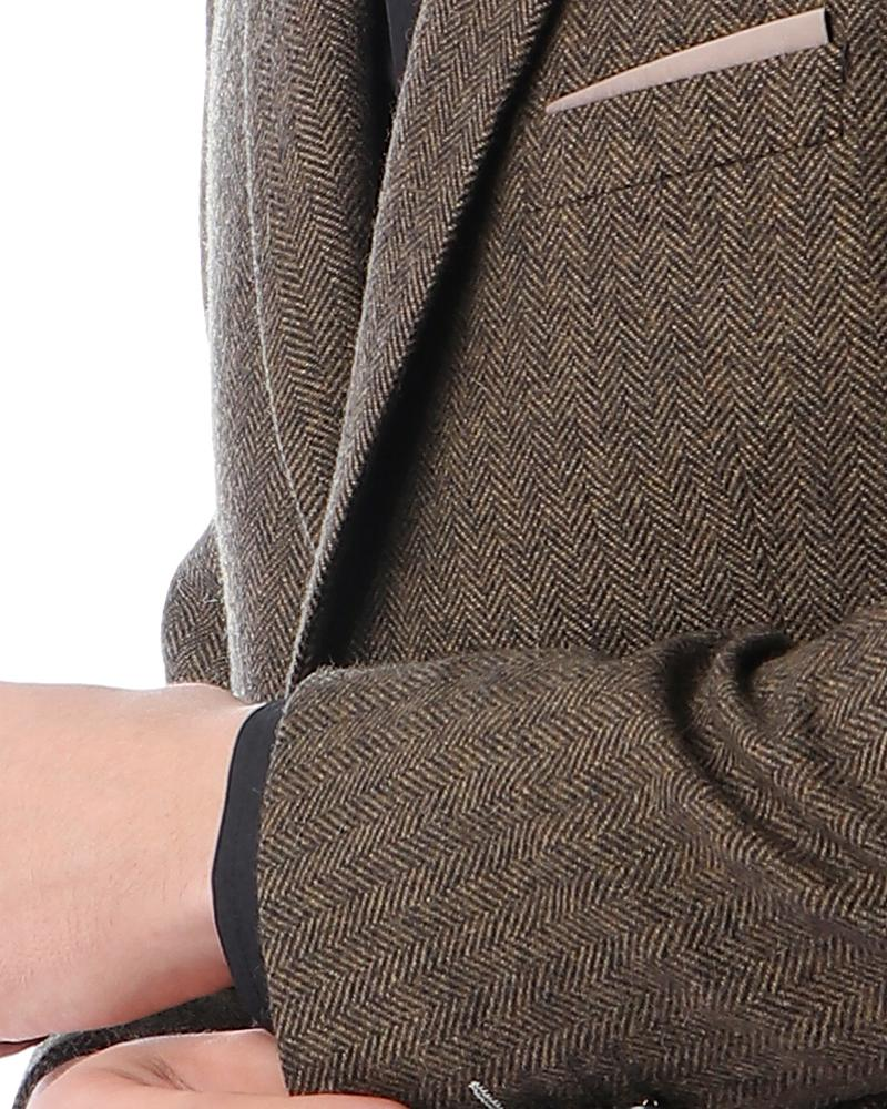 Classic Wool Blazer 2 Buttons -Brown