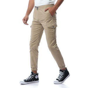 Casual Solid Cargo Pants - Beige