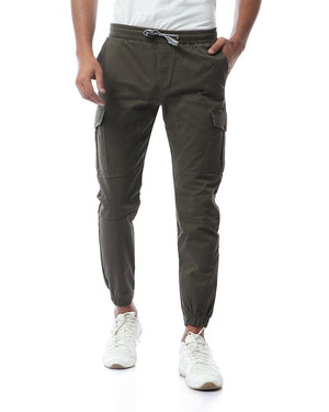 Casual Solid Cargo Pants - Olive