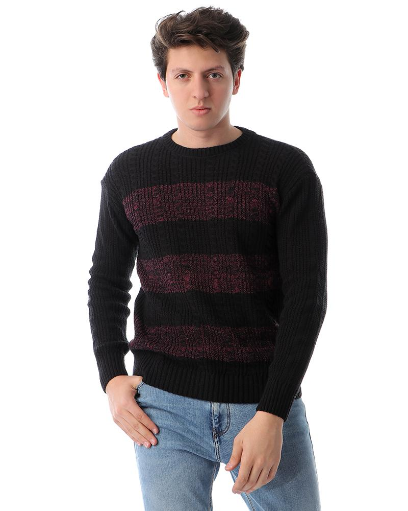 Striped Slip On Knitted Pullover - Violet Red & Black