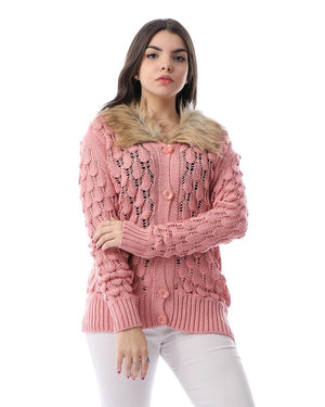 Perforated Buttoned Cardigan With Fur Neck - Light Pink