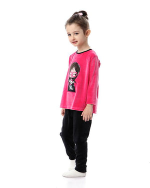 Girls Stitched Girl Pajama Set - Fuchsia & Black