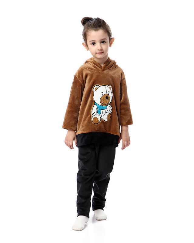 Girls Teddy Bear Pajama Set - Light Brown & Black