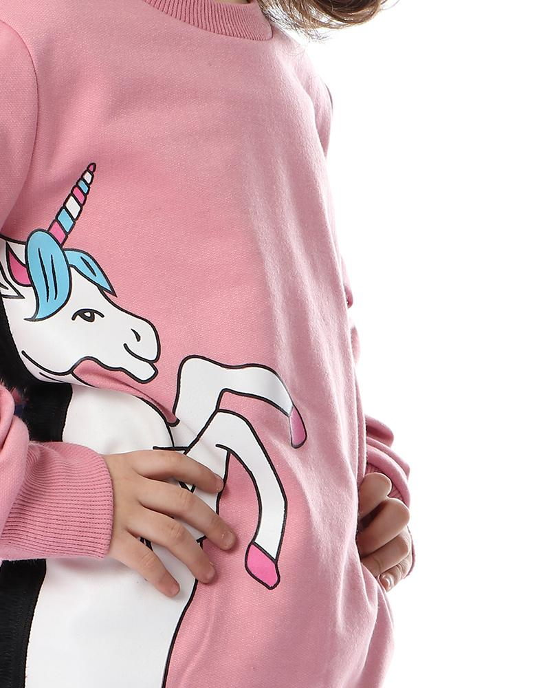 Girls Side Printed Unicorn Sweatshirt - Cashmere