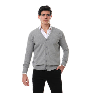 full buttons down heather grey cardigan