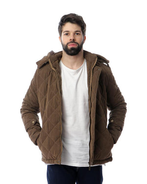 Quilted With Side Pockets Jacket - Brown