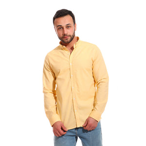 basic cotton buttoned long sleeves shirt - blonde yellow