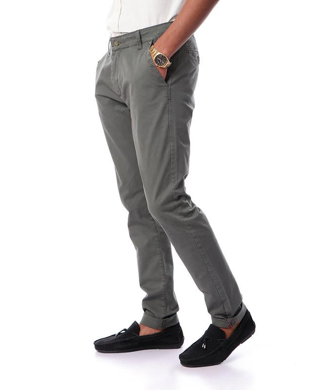 Gabardine Elegant Plain Pants - Greenish Grey
