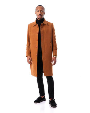 Trendy Long Buttoned Coat With Classic Collar - Camel