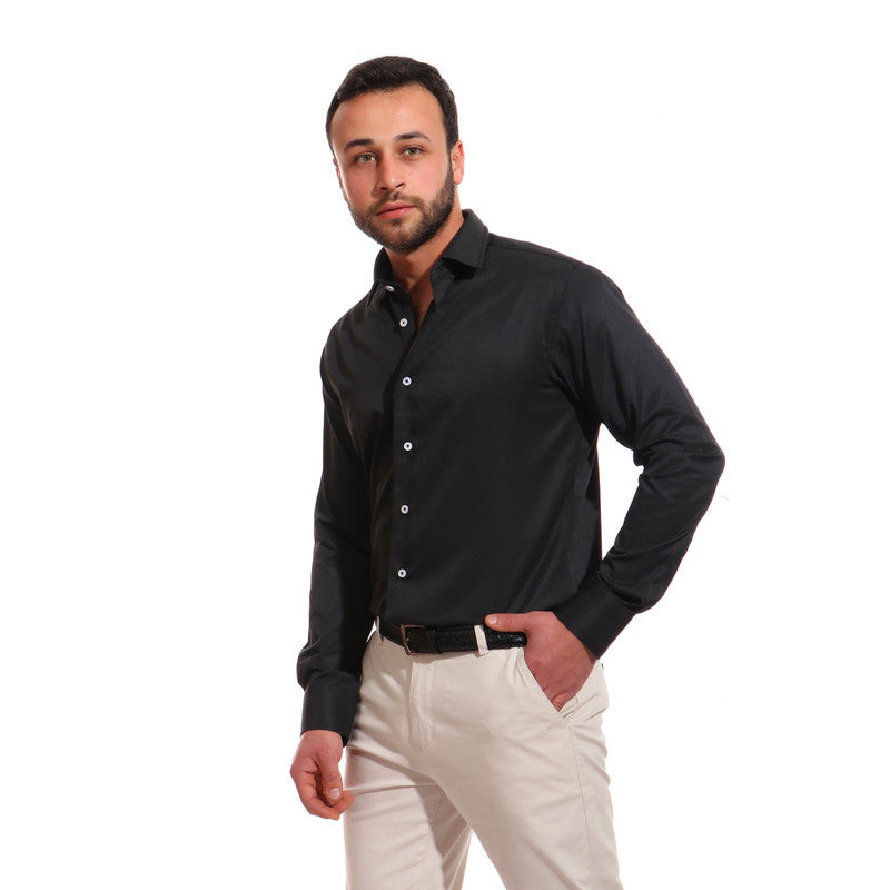 Solid Cotton Full Sleeves Shirt - Black