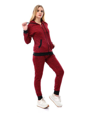 Zipped Training Suit With Pockets - Burgundy & Black