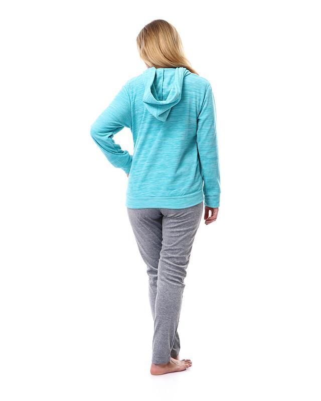 Hooded Button Closure Velvet Pajama - Aqua Blue & Heather Grey