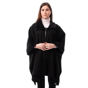 Simple Solid Fur Collar Poncho - Black