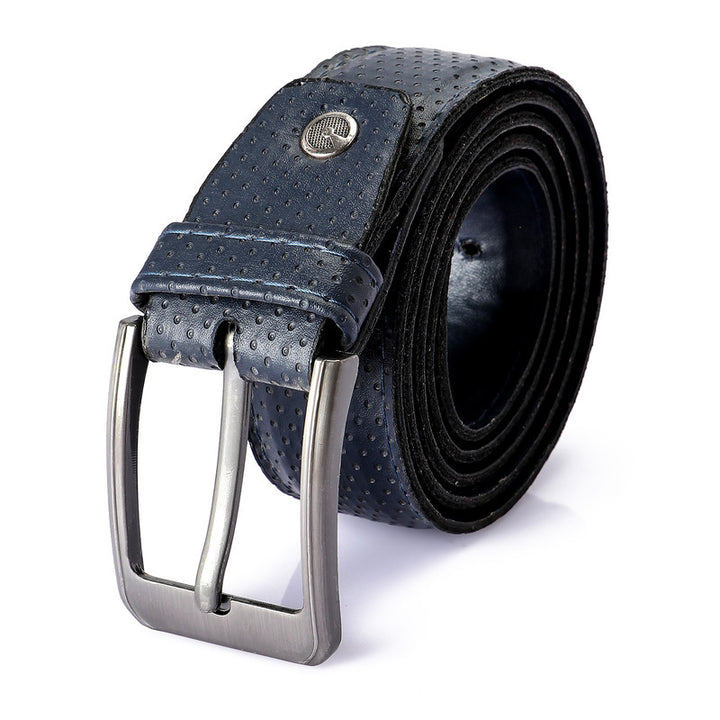 Self Dotted Leather Belt - Navy BLue