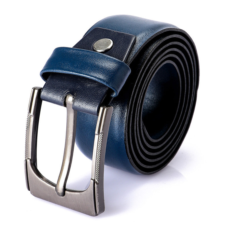 solid navy blue buckle closure belt