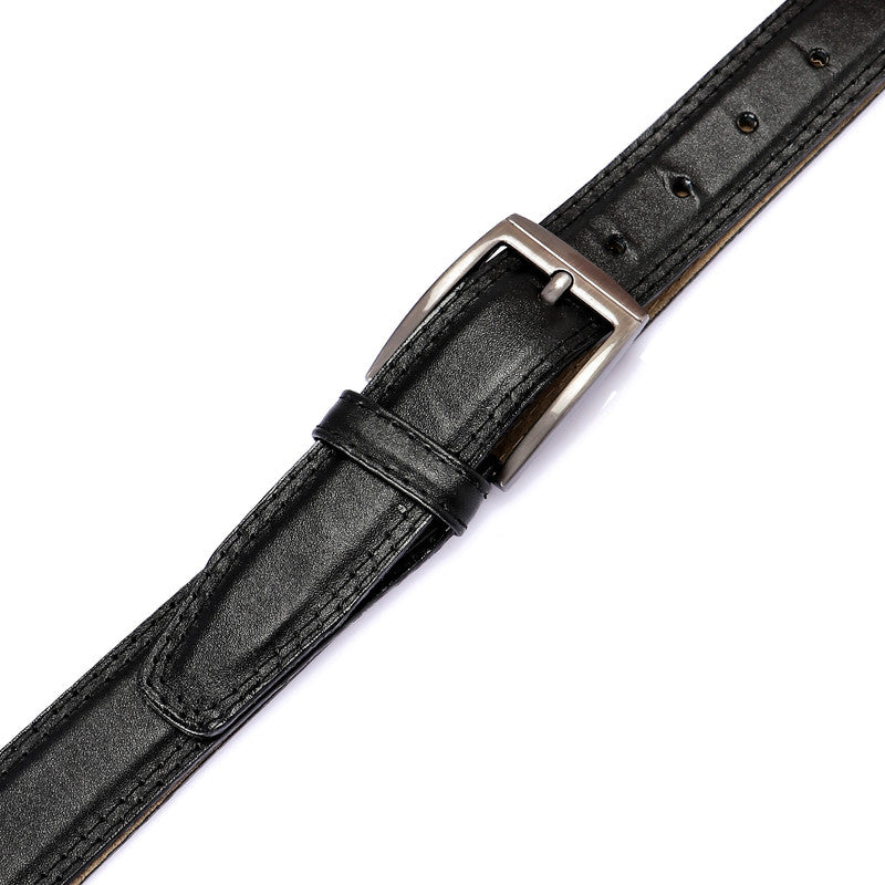leather buckle closure plain belt - black