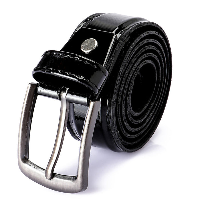 Shinny Black Leather Plain Belt