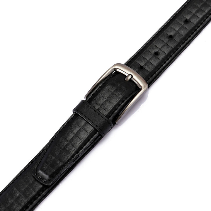 Self Plaids Pattern Leather Belt - Black