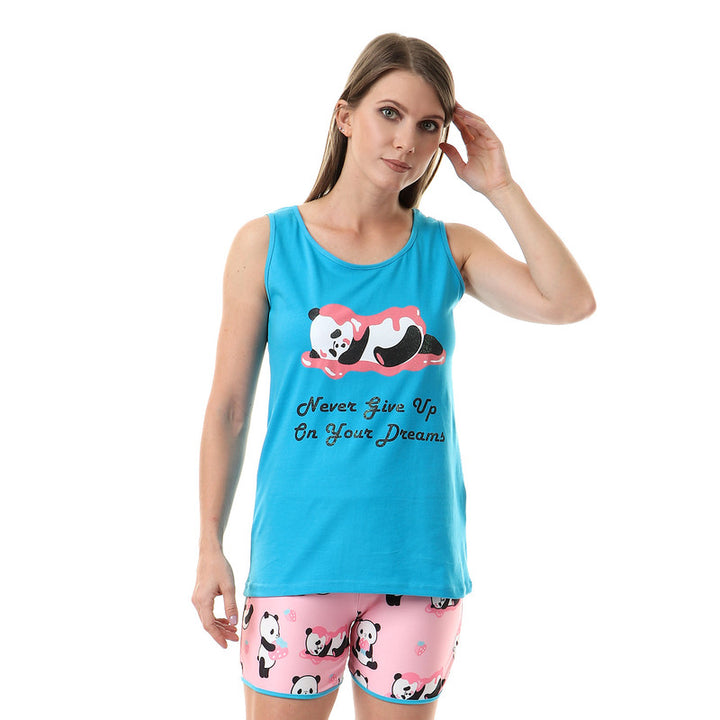 """Never Give Up On Your Dreams"" Sleeveless Pajama Set - Turquiose"
