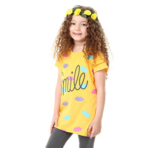 """Smile"" Girls Printed Caped Sleeve T-shirt - Yellow"