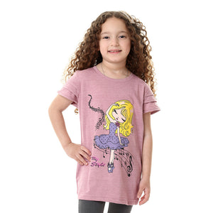 Girls Printed Cap Sleeves T-shirt - Heather Dusty Rose