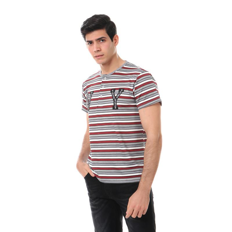 buttoned round neck polyester t-shirt - multicolour