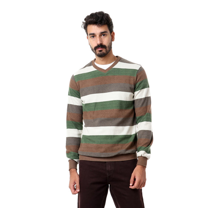 Striped_Full_Sleeves_Sweater_-_Green_,_Brown_&_Biege
