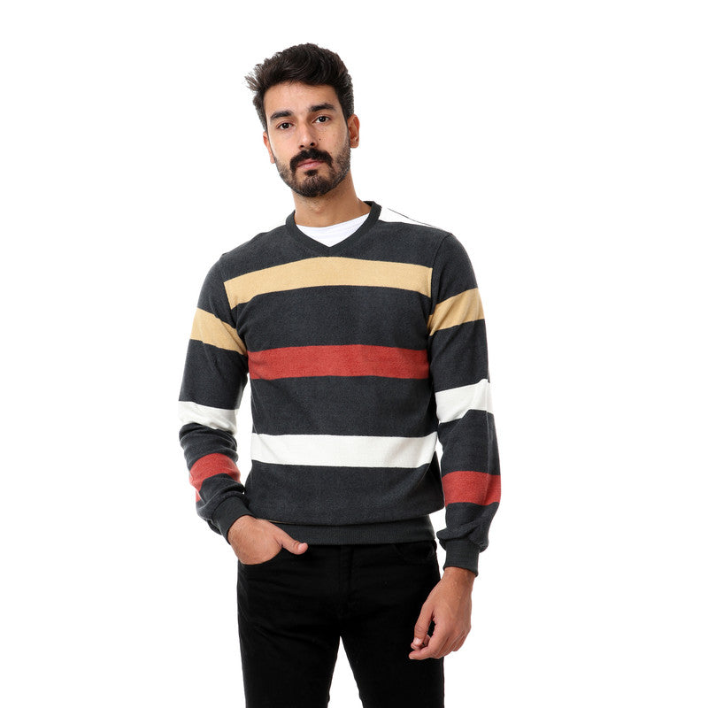 striped full sleeves sweater - olive- light yellow - burned orange